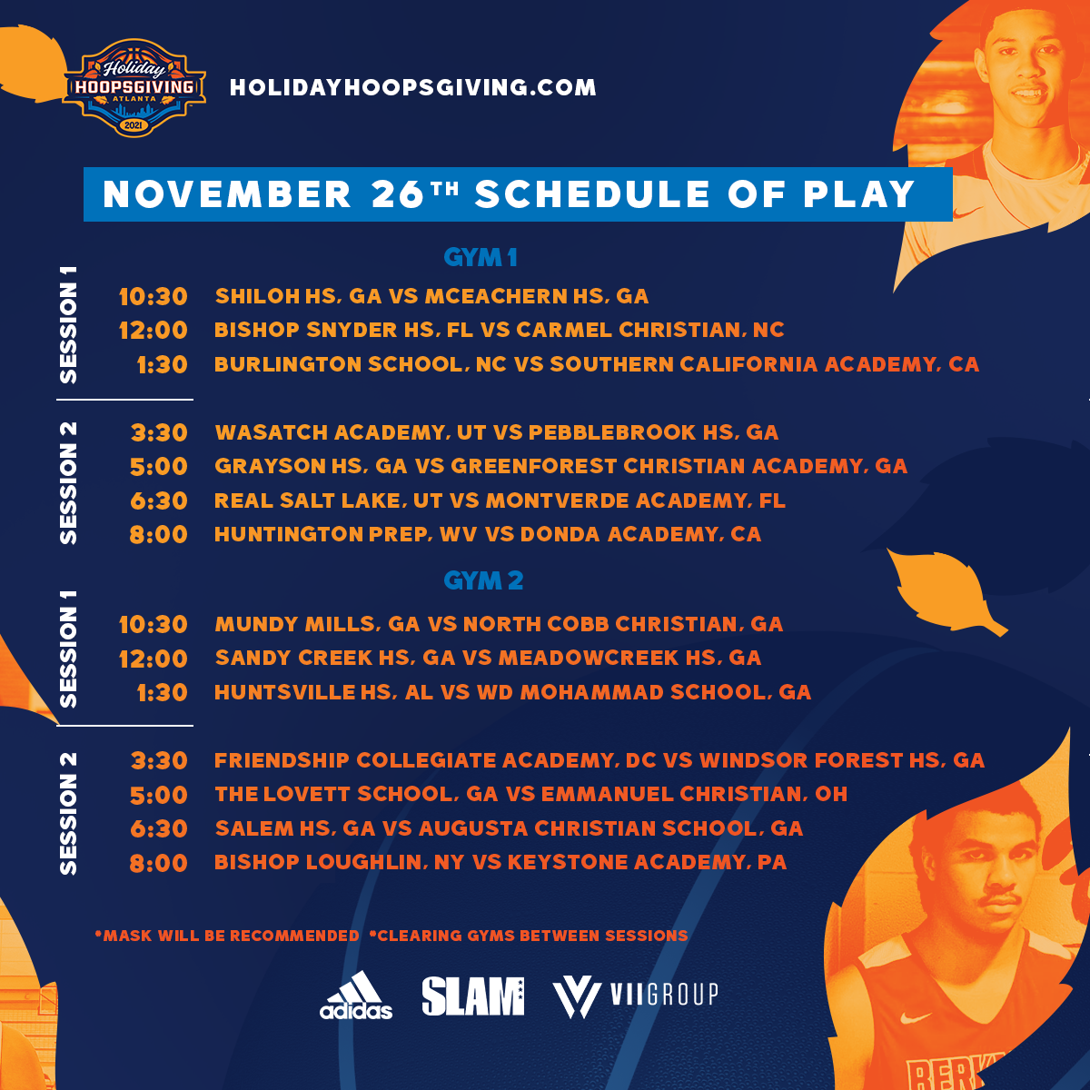 Holiday Hoopsgiving 2021 High School Day 1 Updated